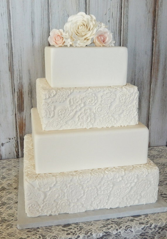 wedding cake fake tiers four tier square fondant wedding cake wedding cake faux 22589