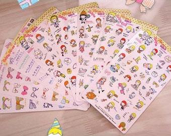 Korean Sticker - Diary Sticker - DIY Sticker - Alice Deco Sticker Set - 8 sheets PVC sticker