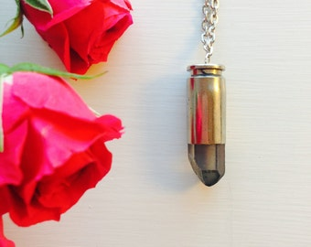 Silver Bullet with Purple/blue Crystal Necklace