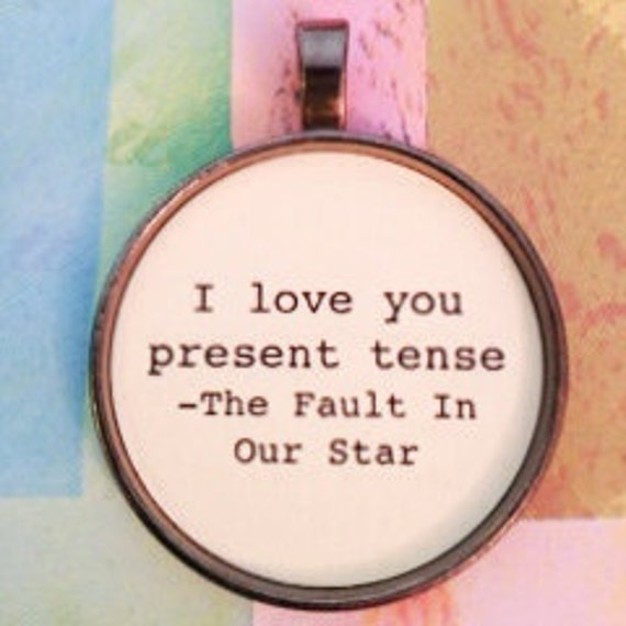 The Fault in Our Stars Literary Quote Key Chain Okay Okay Silver or Bronze Glass Dome