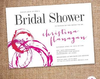 wine theme bridal shower invitations etsy
