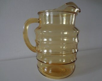 Large Amber Glass Pitcher Bee Hive