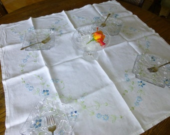 """Handembroidered Luncheon Cloth Blue and Green on White Linen 32"""" sq"""