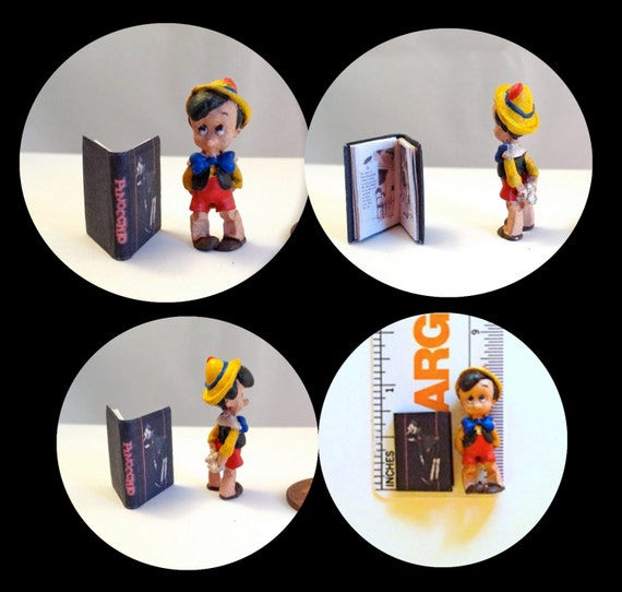 PINOCCHIO  MINIATURE BOOK and Hand-painted Figure Miniature Dollhouse 1:12 scale