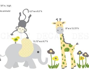 Safari Wall Decal, Nursery Wall Decal, Mini Decal, Giraffe Decal, Jungle Animal wall decal, monkey decal, Citrus Design