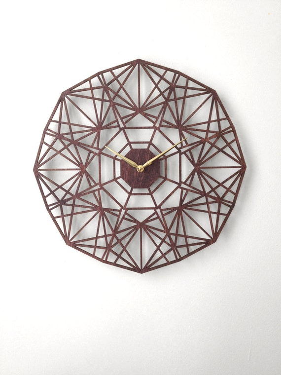 Sapphire Clock. Modern Geometric Laser Cut Wood Wall Clock.