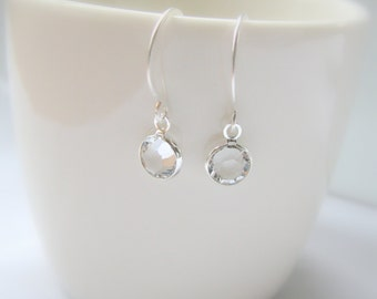 Swarovski Crystal Earrings, Clear Crystal, Small Sterling Silver Earrings - Tiny Drop Dangle - Everyday Earrings, Bridesmaids Gift, Delicate