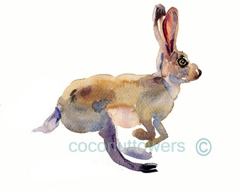 Children's Art -  Watercolor  - Hare - Size 8x10  -  Nursery Art Print