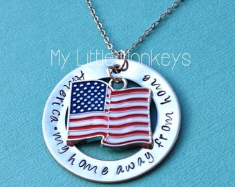 Custom Personalized Hand Stamped Necklace - Foreign Exchange Student Gift - America, My Home Away from Home - Going away gift - USA Flag