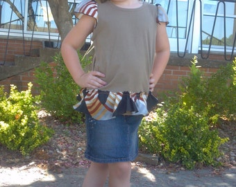 Girls Vintage Silk Scarf Tee Brown Striped