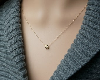 Tiny Gold Clover Necklace /  Reversible Little Solid Clover Pendant on a Gold Filled Chain ... good luck charm