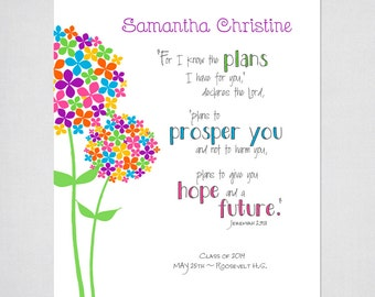 Personalized Confirmation, Baptism, Graduation Gift - Teen Girls Flower PRINTABLE Wall Art with Jeremiah 29:11 Bible verse.