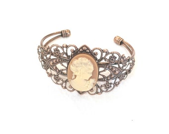 Cameo Bracelet - Cameo Jewelry - Filigree Cuff Bracelet (BROWN and TAN)