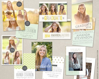 Senior Graduation Announcement Template Bundle for Photographers PSD Flat card - Set 4