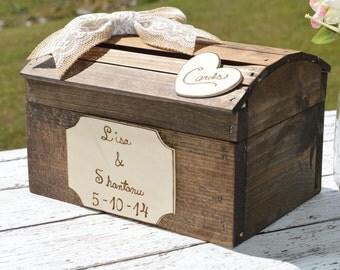 shabby chic card box, custom wedding card box, xlarge size, burlapand lace wedding decor, country reception decor