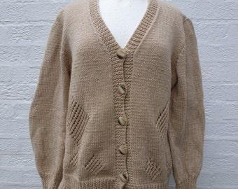 Cardigan brown handmade womens wool top ladies 90s vintage handknit top womens cardigan 90s wool top winter cardigan vintage top medium.