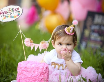 Cake Smash || First Birthday Girl Party Hat || Girl First Birthday Party Hat || 1st Birthday Party Hat || Smash Cake || Gold Party Hat