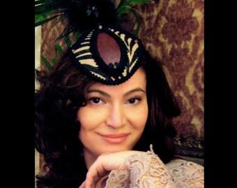 Steampunk Fascinator Hat, Zebra Print, Burlesque Hat - Lady Marlowe