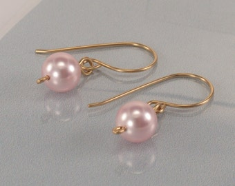 Pink Swarovski Pearl Earrings, Gold Pearl Earrings, Dangle Swarovski Pearl Earrings, Bridesmaids Gifts, Pink Pearl Earrings Bridal jewelry