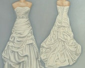 CUSTOM Bridal Illustration Wedding Dress Painting Front and Back (1) in OIL by Lara 11x14 Mother Daughter Portrait