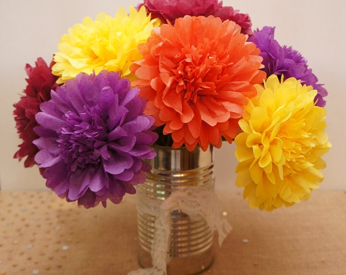 Autumn Fall Mums Tissue Paper Flowers