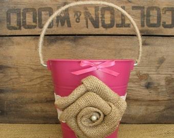 Flower Girl Basket, Pink Flower Girl Bucket, Rustic Flower Girl Pail, Burlap Flower Girl Basket, Fuschia Wedding, Shabby Chic Wedding