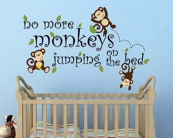 no more monkeys jumping on the bed decal nursery decor monkey decal jungle theme nursery - Monkey Bedroom Decor