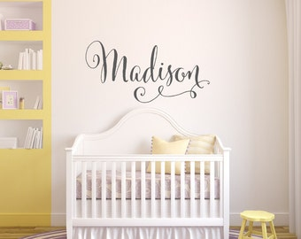 Charmant Swirly Name Wall Decal   Baby Girl Nursery Wall Decal   Girls Name Wall  Decal
