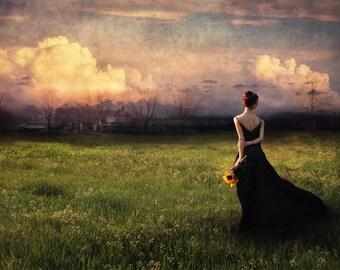 Going Home- photographic art, wall art, woman portrait, nature art, long gown, sunflowers, fine art photograph, fine art print, photo art