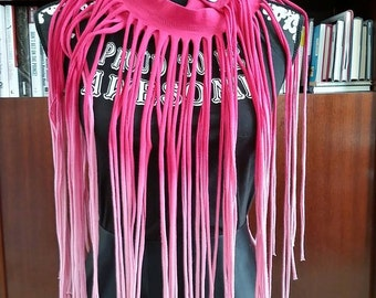 Pink Ombre Fringe T-Shirt Scarf