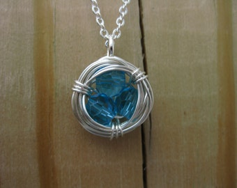 Blue Crystal Wire Wrapped Bird's Nest Necklace