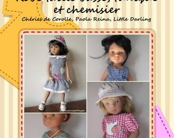 Low waist dress pattern for dolls (32-35 cm) (+ blouse and tunic) & tutorial