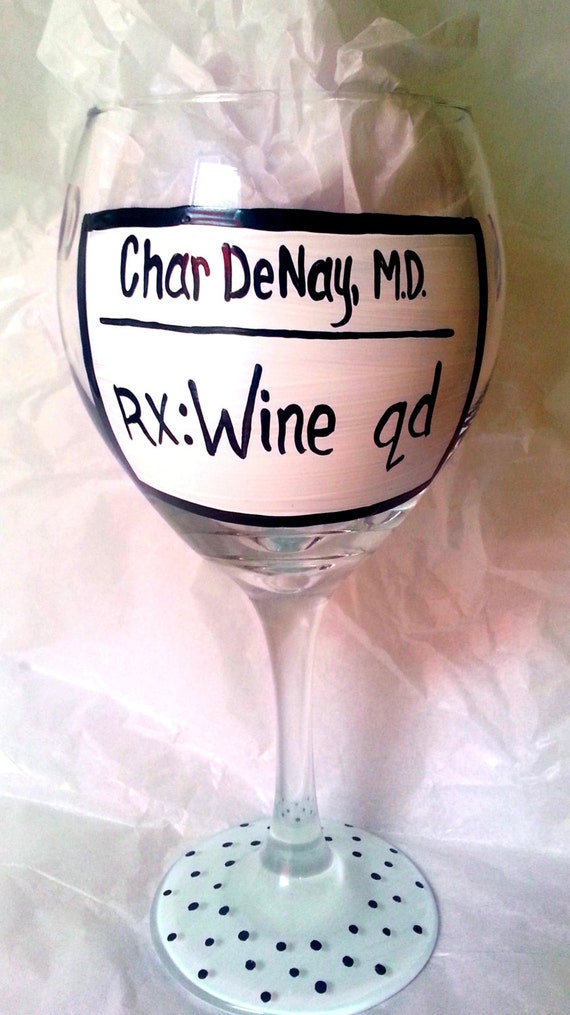 RX: Wine Qd Hand Painted 20 oz Wine Glass perfect by SassySippings