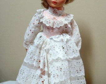 1974 Vogue Doll Co. Miss Ginny Bride Doll in White Eyelet Dress, Blonde Hair