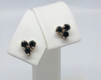 1/2ctw Round Triple Black Diamond Stud Earrings 14kt Yellow Gold