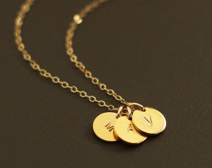 Gold Initials Necklace - 3 Initials - Gold Personalized Initial Necklace - Customized necklace