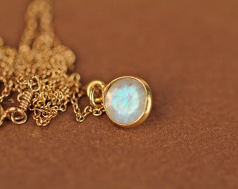 Rainbow moonstone necklace - tiny moonstone - minimalist - everyday - crystal necklace - a gold lined moonstone on a 14k gold vermeil chain