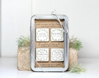 Christian Magnets. Scripture Refrigerator Magnets 1.25 CONTENTMENT Collection. Concrete Magnets. Gift Tin with Ribbon.
