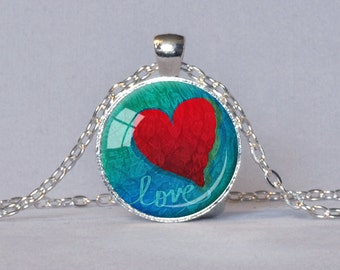 VALENTINE HEART PENDANT Love Necklace Red Teal Red Heart Jewelry I Love You Gift for Her Love Pendant