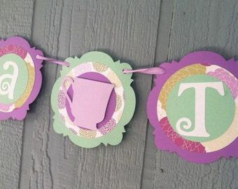 TEA TIME Banner - Tea Party, Alice in Wonderland - Mint, Lavender, Floral - shabby chic - Birthdays, Garden Parties, Tea Parties, Photo Prop