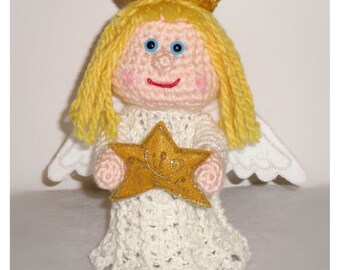 Angel Christmas Tree Topper - PDF crochet PATTERN ONLY- Stuffed Christmas Decor, Christmas Characters, Decorations to Make, Angel with Star