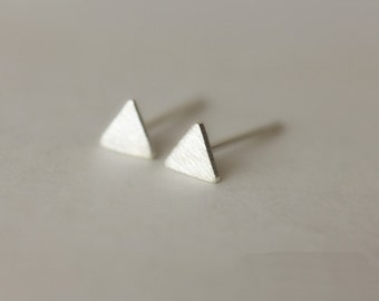 925 Sterling Silver Tiny Small Triangle Simple Cute Matte Hand-made Stud Earring 150