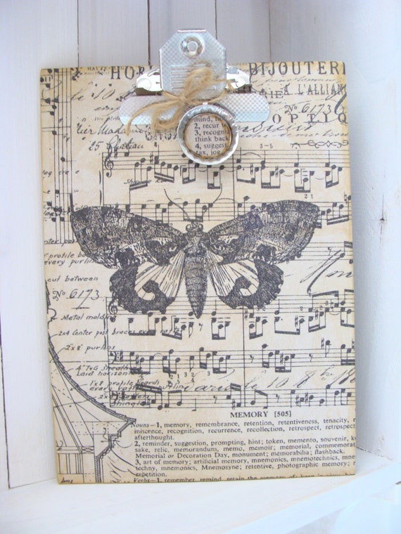 Altered Clipboard Vintage Inspired Moth Butterfly Print Mini Clip Board Mixed Media Art Altered Art