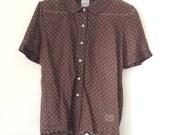 French Vintage Sheer Brown Polka Dot Oxford w/ Peter Pan Collar Sheer S/M