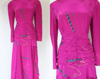 Vintage 1980's pink ruched painted silk dress. Small