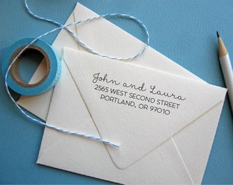 Return Address Stamp with script names, perfect for save the dates, black self inking stamp, rubber stamp wood handle