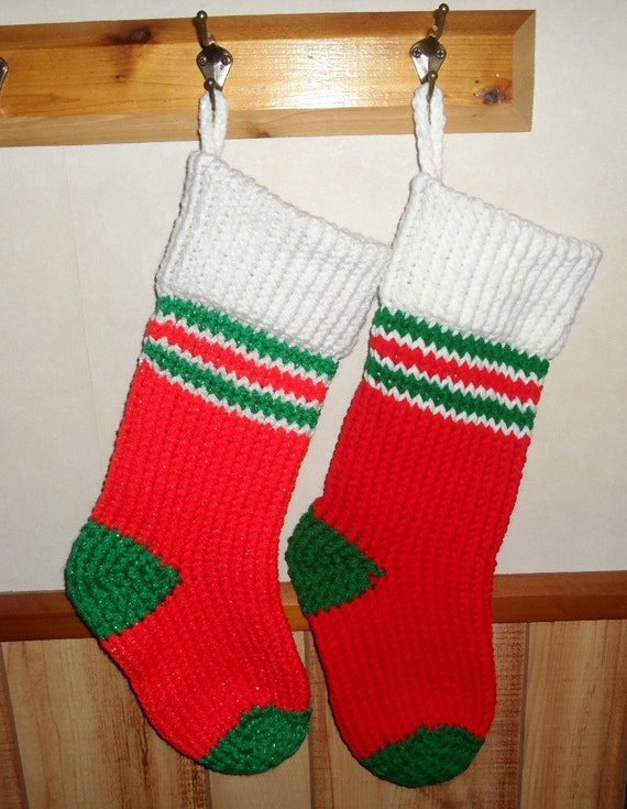 Plain Christmas Stocking Knitting Pattern : Red/Green Knitted Christmas Stocking Choice of Sparkle or