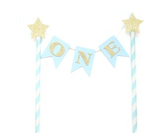 Blue & Gold Birthday Cake Topper - First Birthday Cake Topper, 1st Birthday, Cake Bunting, birthday, baby shower, tea party