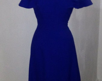 Vintage 60's/70's, Vera Mont Paris cobalt blue, plunging V- neck, flutter sleeve maxi dress