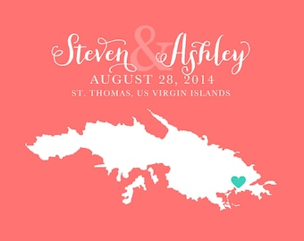 St. Thomas Wedding, USVI Map -  Personalized Art Print, Virgin Islands Wedding, Custom Gift, Unique Wedding Gifts, Destination Weddings